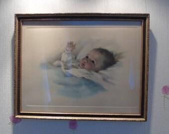 "Vintage Framed Print ""Awakening"" by Bessie Pease Gutmann - 664 Gutmann and Gutmann NY - Original Vintage Print - Baby Print - Nursery Print"