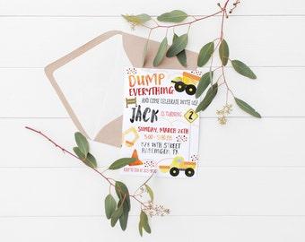 Printable Dump Everything Kids Dump Truck Birthday Invitation