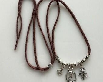 Grateful Dead Steal Your Face Dancing Bear Peace Sign Adjustable Necklace