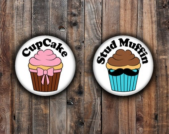 Cupcakes and Stud Muffins girl and boy gender reveal pins
