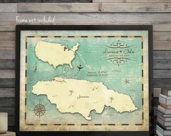 "Wedding Guest Book Map, Guest Book Alternative, Custom Map, Jamaica Map, Jamaica Wedding Map, Sizes 5""x7"" up to 30"" x 40"""