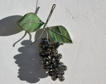 3D stained glass decoration twigs purple grapes