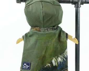 Dark Green Extra Small Dog Mountain Outdoors Camo T-shirt Hoodie Upcycled Sleeveless Boy Dog Ready to Ship