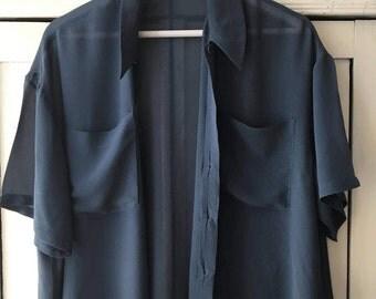 L/ 90s silk sheer grey dark blue shirt/ waist/ oversized women