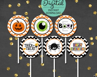 Halloween Cupcake Toppers, Halloween Decorations, Halloween Decor, Halloween Birthday, Cupcake Decoration, INSTANT DOWNLOAD #9512