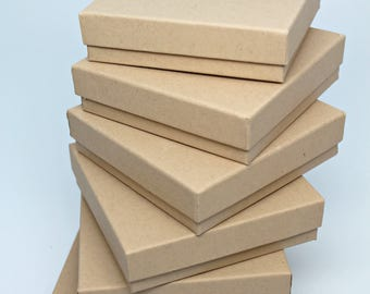 Kraft Jewelry Boxes- Gift Boxes- Display Box- Storage Boxes with lid- Recycled Content Boxes- Includes Fiberfill- Made in USA- Set of 6