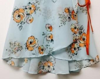Light blue and orange floral ballet wrap skirt - Long