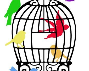 Home Wall Art Print Digital Download Rainbow Bird Cage Print