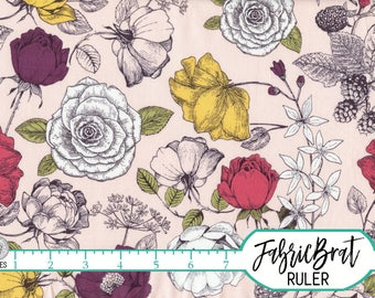 BLUSH PINK FLOWERS Fabric by the Yard, Fat Quarter Sketched Roses Fabric Floral fabric 100% Cotton Fabric Apparel Fabric Quilt Fabric a2-31