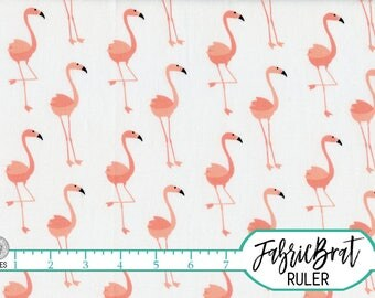 CORAL & PINK FLAMINGOS Fabric by the Yard Fat Quarter Coral Fabric Tropical Flamingo Quilting Fabric Apparel Fabric 100% Cotton Fabric a5-2