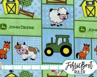 BABY JOHN DEERE Fabric by the Yard, Fat Quarter Blue & Green John Deer Farm Fabric Quilting Fabric Apparel Fabric 100% Cotton Fabric t5-21