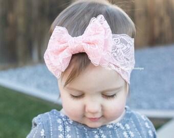 Baby headband, baby girl headband, pink lace double bow headband, baby bows, peach pink headband, hot pink headband