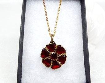 Antique Victorian Gold Gilt Foiled Garnet Paste Glass Brooch Pendant Necklace