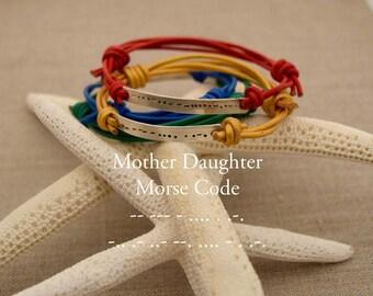Mother daughter bracelet set, Custom morse code, mother daughter gift, mothers day gift, matching mommy daughter, matching mom and daughter
