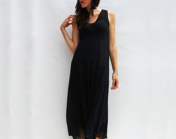 Black Evening Dress, Vintage 90s Minimalist Black Dress, Vintage Evening Gown, 90s LBD, Black Maxi Dress, Vintage 90s Black Maxi Dress, 1990