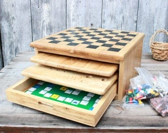 Vintage wooden board games, chess, checkers, chinese checkers,