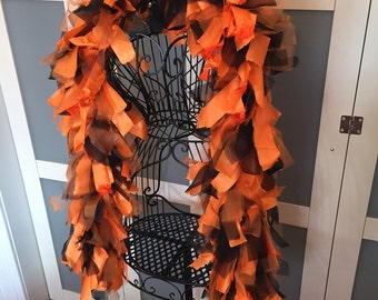 Tattered Fabric Boa // Garland // Gothic, Burlesque, Fetish // Fashion Accessory // Orange, Black // Halloween // Zombiesque Creations #21