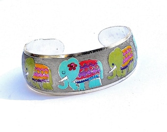 Painted Elephant Cuff Bracelet Silver Bohemian Boho Indian Jewelry FREE SHIPPING
