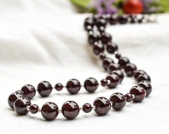 Deep Natural Garnet necklace with 925 sterling silver *Free worldwide shipping*