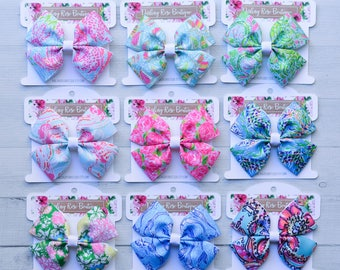 Lilly Pulitzer inspired hair bow hairbow or headband You choose! floral print bow