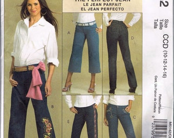 Misses' Size 10-16 Jeans Sewing Pattern - Bootleg Pants Straight Leg Pants - Capri Length Jeans Sewing Pattern - McCalls M5142