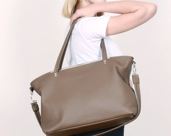 Big Leather Bag,Leather Purse mud,Shopper mud,leather Tote Bag, DIANA BAG MUD
