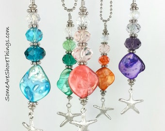 Car Charm. Rear View Mirror Seashell Car Ornament with Starfish Charm.  Colored Seashell with Coordinating Colored Glass Faceted Beads.