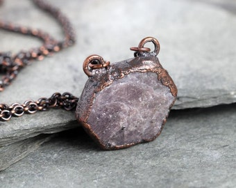 Ruby Necklace Electroformed Copper Pendant Raw Gemstone Copper Corundum Necklace Natural Stone Long Chain