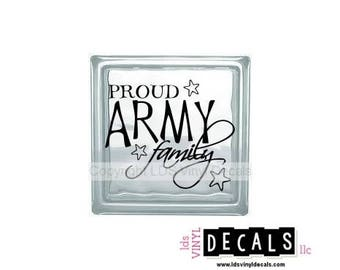 PROUD ARMY Family - Patriotic and Military Vinyl Lettering for Glass Blocks - USA Car Decals