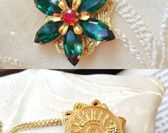 "PRE-ORDER Anastasia ""Together in Paris"" Necklace with Swarovski Crystal Gems Emerald and Ruby Handmade Replica 16K Gold Flower Charm Cosplay"
