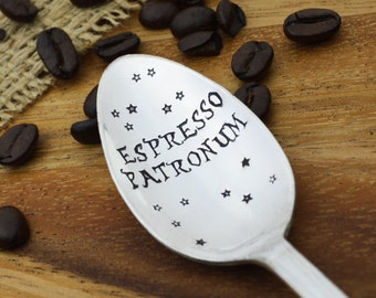 Espresso Patronum Hand Stamped Spoon • Stamped Silverware • Gift Idea for Coffee Lover