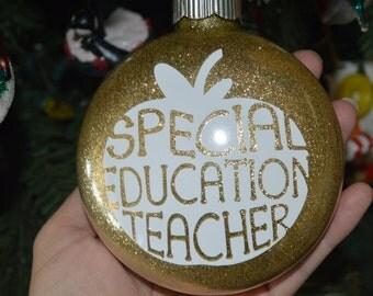 Special Education Teacher Ornament, Teacher Gift, Glitter Ornament, Vinyl Ornament, Christmas Ornament, Teacher Appreciation, Apple Ornament