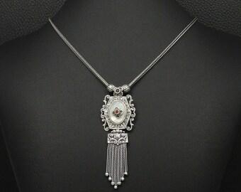 Natural Mother Of Pearl & Garnet Necklace 925 Sterling Silver Greek Handmade Art Luxury