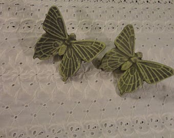 Pair Of Vintage Hanging Butterflies Garden Decor