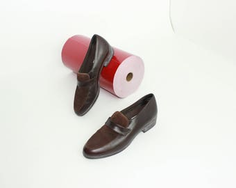 suede contrast loafers chocolate brown minimalist modern loafers shoes size 7.5