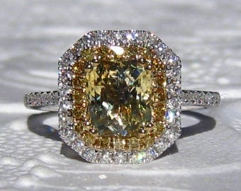 Yellow Sapphire Engagement Ring, Canary Yellow Radiant Sapphire in Double Diamond Halo Engagement Ring, Yellow Diamond Engagement Ring