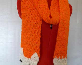 crochet scarf, fox scarf, woodland scarf, orange scarf, wolf scarf, long crochet scarf, animal scarf, novelty scarf