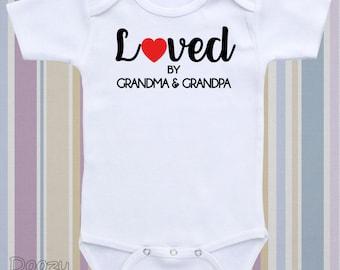 Custom Grandparents Pregnancy Announcement Onesie® Personalize Pregnancy Reveal Shirt Newborn Baby Boy Girl Loved By Grandma & Grandpa