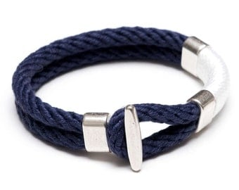 Nautical Rope Bracelet / Nautical Jewelry / White Rope Bracelet / Silver T Bar Clasp Bracelet / Navy Blue Rope Bracelet / Nautical Gift