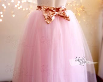 Blush Pink TuTu Skirt with Sequin Waist Bow | Custom Tea length Princess Tulle Dress for Adult Women Bridesmaids Wedding Bridal Shower Prom