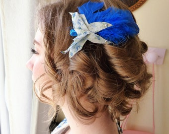 Romantic, spring hair Barrette, blue Origami butterfly, feather