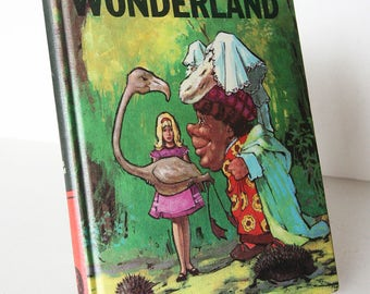 Alice In Wonderland, Lewis Carol Classic Childrens Book Vintage 1940s Vintage old Book Blue Hardback