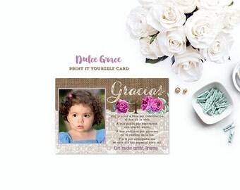 Recuerdo de bautizo, gracias por venir, tarjeta de agradecimiento, muchas gracias, baptism thank you cards, cumpleaños, primera comunion