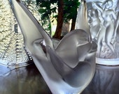 Signed Lalique Clear Crystal Sylvie Doves Vase with Frog Flower Insert #1225800