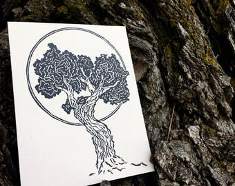 Relief Print : Juniper Tree Cards (2 pack)