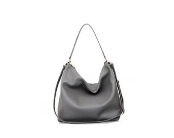 NELA - Leather Hobo Bag (MEDIUM) - Dark Grey