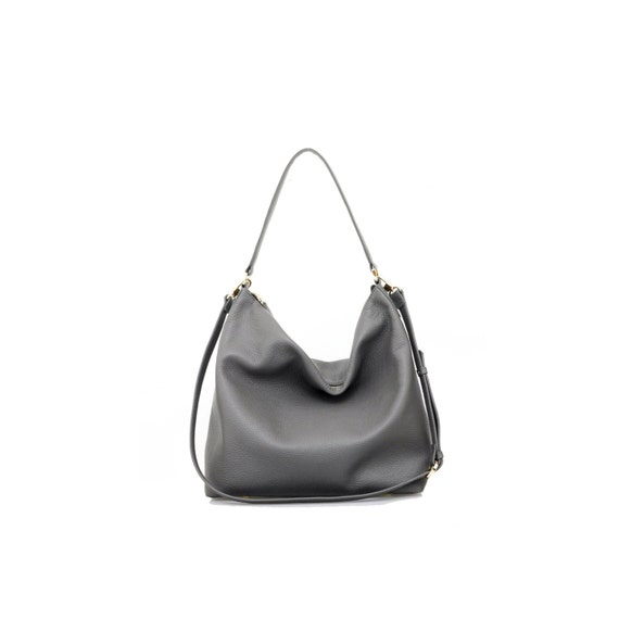 NELA Leather Hobo Bag MEDIUM Dark Grey