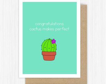 Funny Graduation Card Congrats Grad Congratulations Graduating College High School Cactus Pun Handmade Greeting Cards Gift Gifts For Him Her