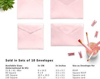 10 x Pink Envelopes, Money Envelopes, Paper Envelopes, Square Envelopes, Wedding Envelopes, Set of 10 Envelopes