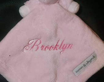 Personalized embroidered pink lamb lovey / security blanket
